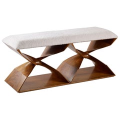 Hand Carved Walnut 'Sculptural Twist' Two-Seat Bench