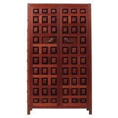 Hand Carved Wardrobe Cabinet by Studio Craftsman Sam Forrest, 1960s