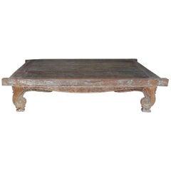 Hand Carved Weathered Teak Platform Bed, 19th Century, Bali