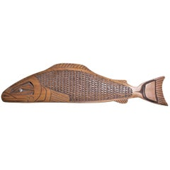 Hand Carved West Coast Haida Cedar Wood Salmon Wall Hanging or Sculpture