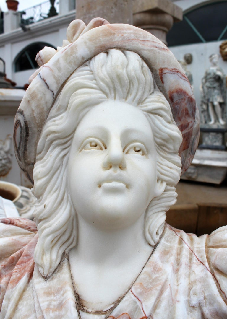 Hand Carved White Carrara Marble and Onyx Bust of a Romanticist Woman For Sale 5