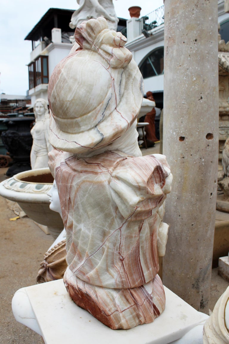 Hand Carved White Carrara Marble and Onyx Bust of a Romanticist Woman For Sale 4