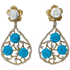 Hand Carved White Coral Turquoise Flowers and Diamond Gold Chandelier Earrings