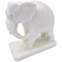 Hand-Carved White Elephant Marble Sculpture Jaipur, Rajasthan India