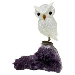 Hand Carved White Gemstone Owl Sculpture