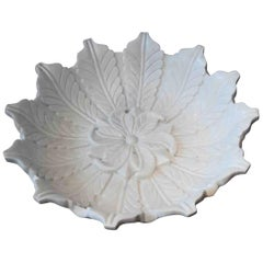 Hand-Carved White Marble Bowl, Mid-20th Century