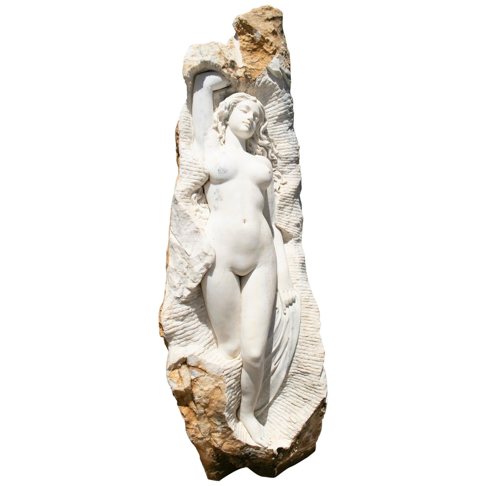 Hand Carved White Marble Female Sculpture on a Single Block
