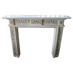 Hand Carved White Marble Fireplace Mantle with Pietre Dure Mosaic Inlay