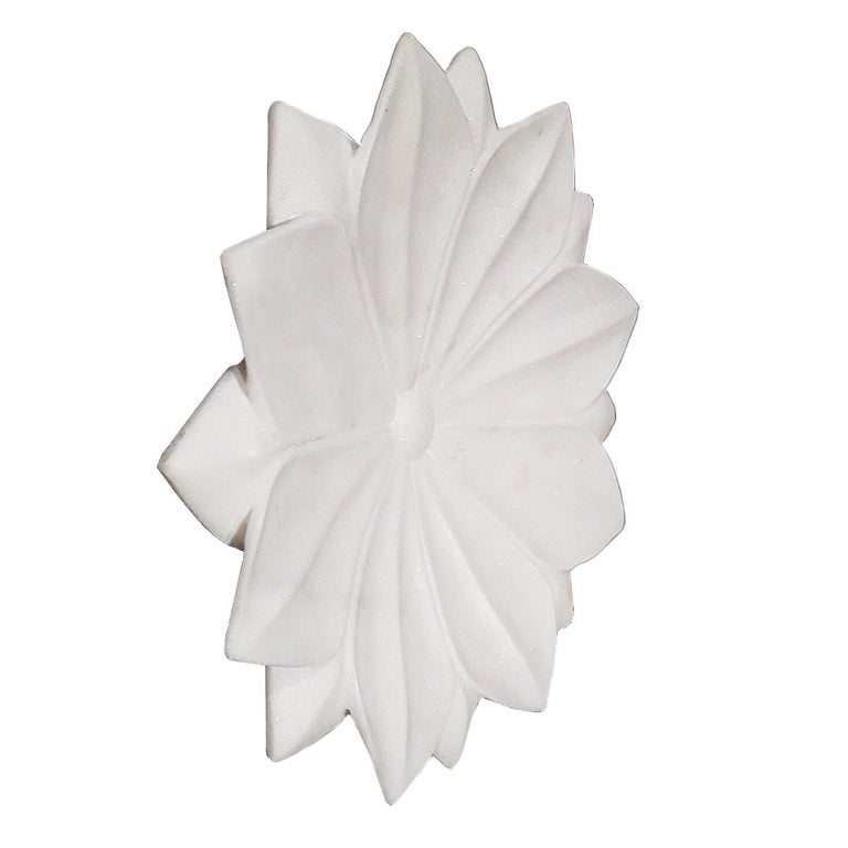 Indian Hand Carved White Marble Lotus Plate For Sale