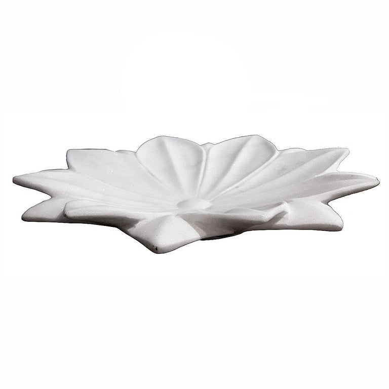 Late 20th Century Hand Carved White Marble Lotus Plate For Sale