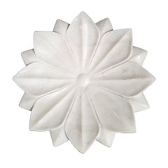 Hand Carved White Marble Lotus Plate