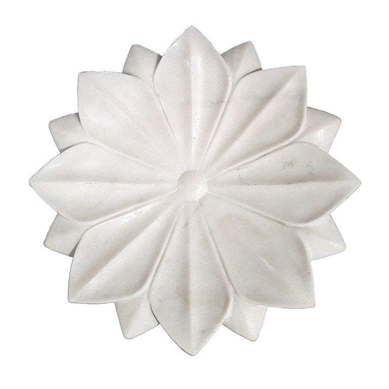 Hand Carved White Marble Lotus Plate For Sale