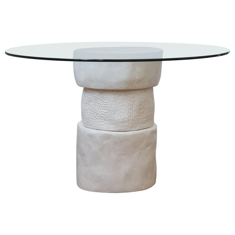 Hand Carved White Plaster and Glass Contemporary Dammara Round Table For Sale