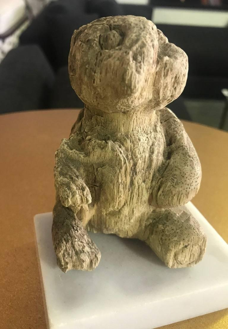 North American Hand-Carved Wood Bear on Marble Stand For Sale
