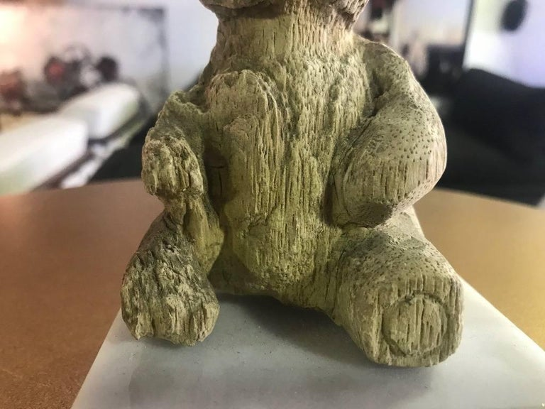 Hand-Carved Wood Bear on Marble Stand For Sale 4