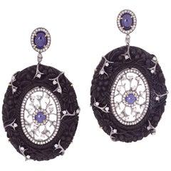 Hand Carved Wood Blue Sapphire Diamond Earrings