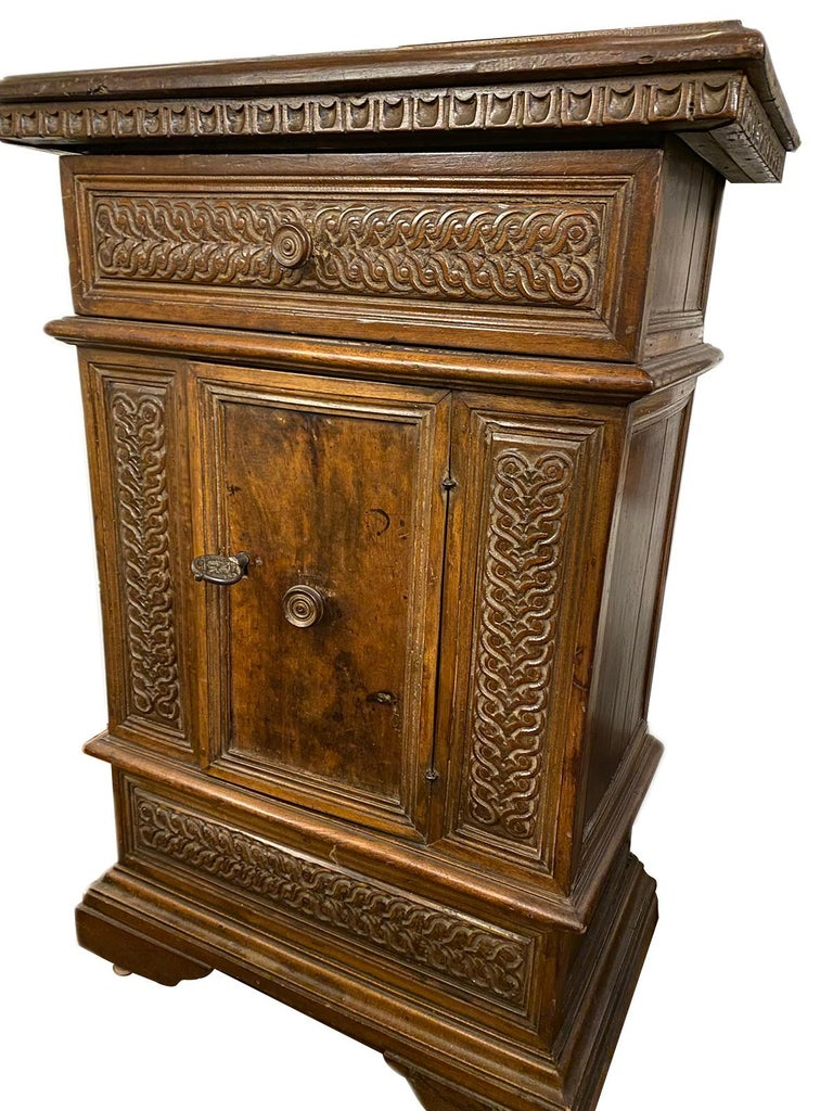 Italian Hand Carved Wood Cabinet For Sale