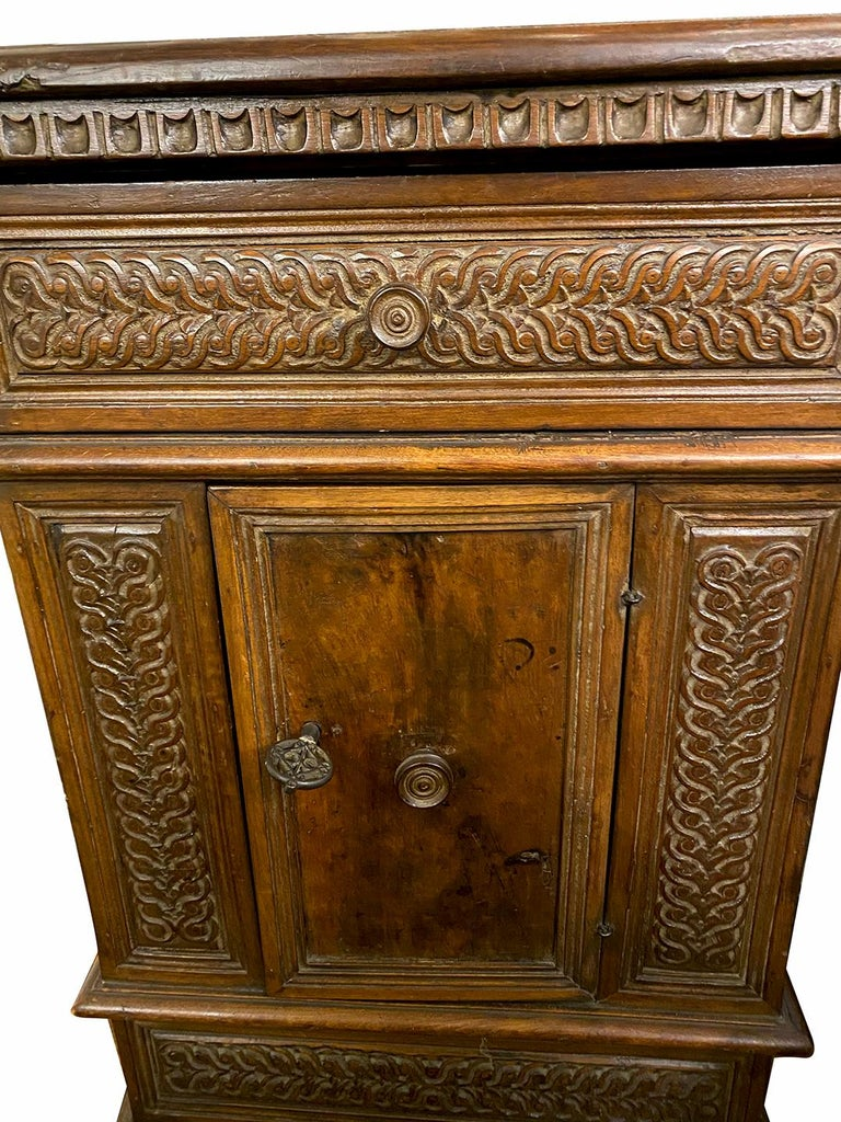 Hand-Carved Hand Carved Wood Cabinet For Sale