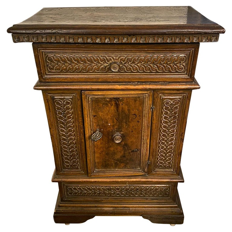 Hand Carved Wood Cabinet For Sale