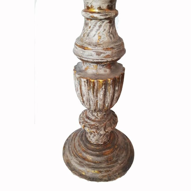 Agra Hand-Carved Wood Candlesticks from India, Mid-20th Century For Sale