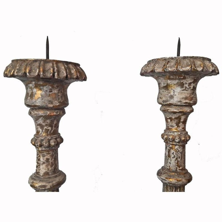 Hand-Carved Wood Candlesticks from India, Mid-20th Century In Good Condition For Sale In New York, NY