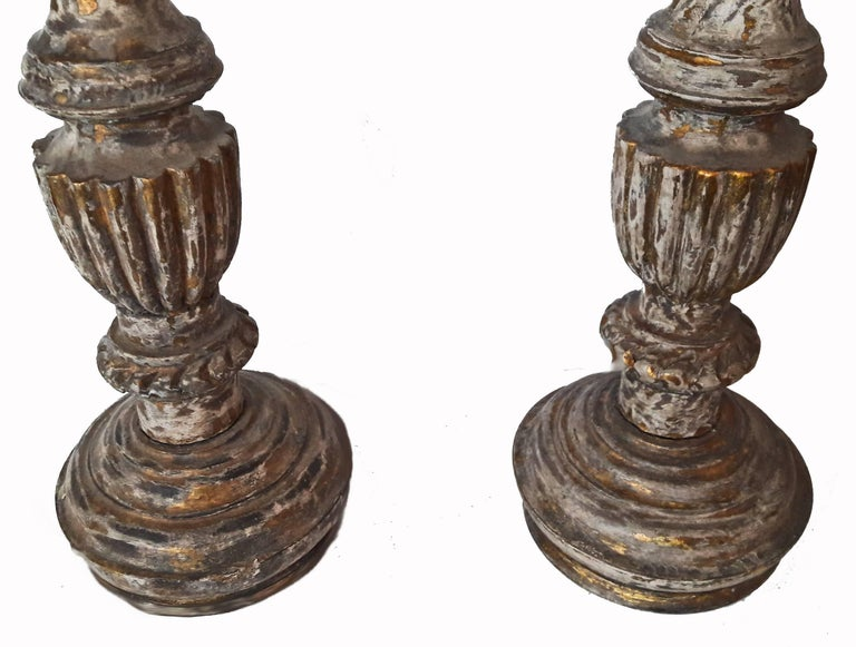 Giltwood Hand-Carved Wood Candlesticks from India, Mid-20th Century For Sale