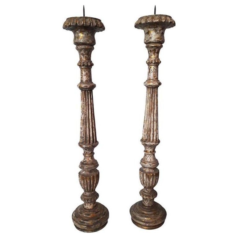 Hand-Carved Wood Candlesticks from India, Mid-20th Century For Sale