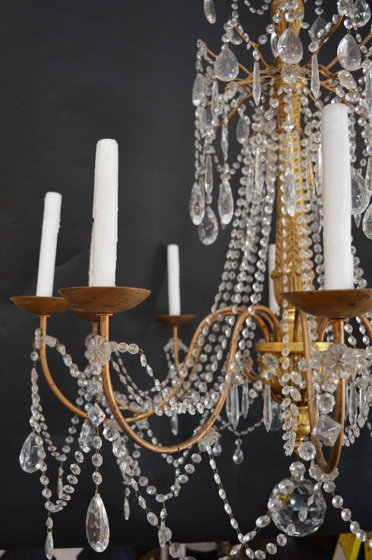 Italian Hand-Carved Wood Chandelier For Sale