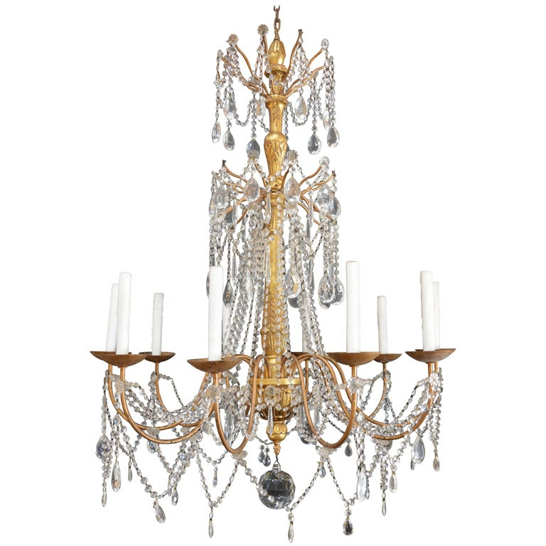 Hand-Carved Wood Chandelier For Sale