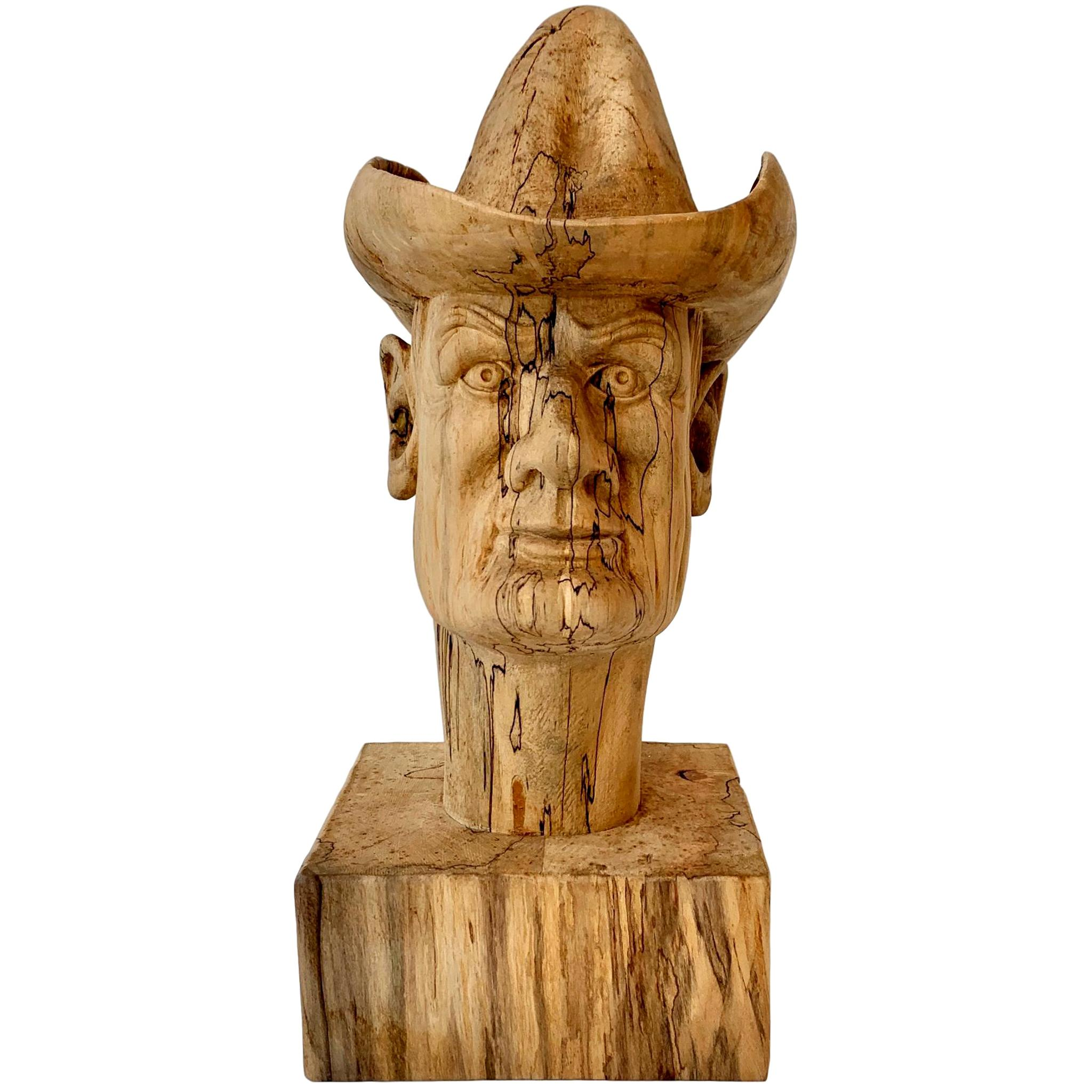 Hand Carved Wood Cowboy Bust