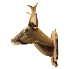 Hand Carved Wood Deer Head, 20th Century