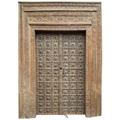 Hand Carved Wood Door, with Organic Design, Gujarat India
