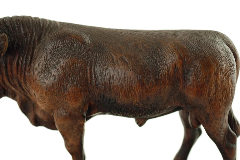 Hand Carved Wood Figural Bull Statue For Sale 3