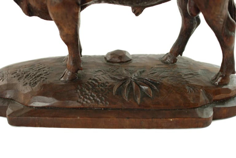 Hand Carved Wood Figural Bull Statue For Sale 4