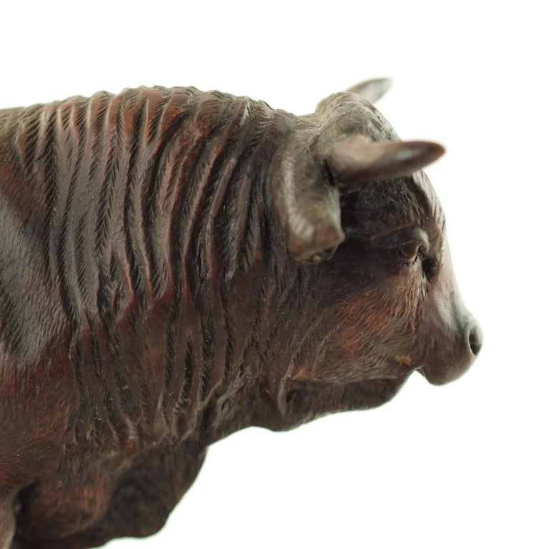 Hand Carved Wood Figural Bull Statue For Sale 6