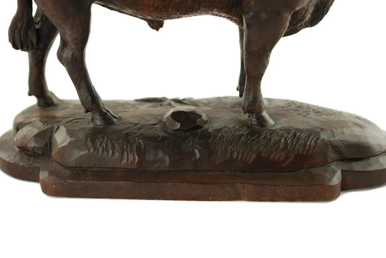 Hand Carved Wood Figural Bull Statue For Sale 8