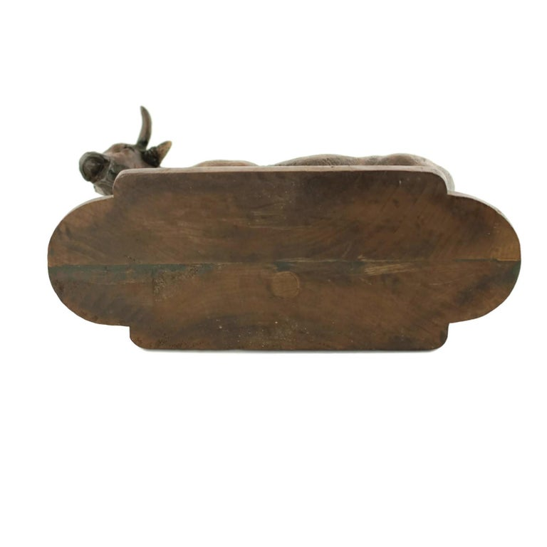 Hand Carved Wood Figural Bull Statue For Sale 10