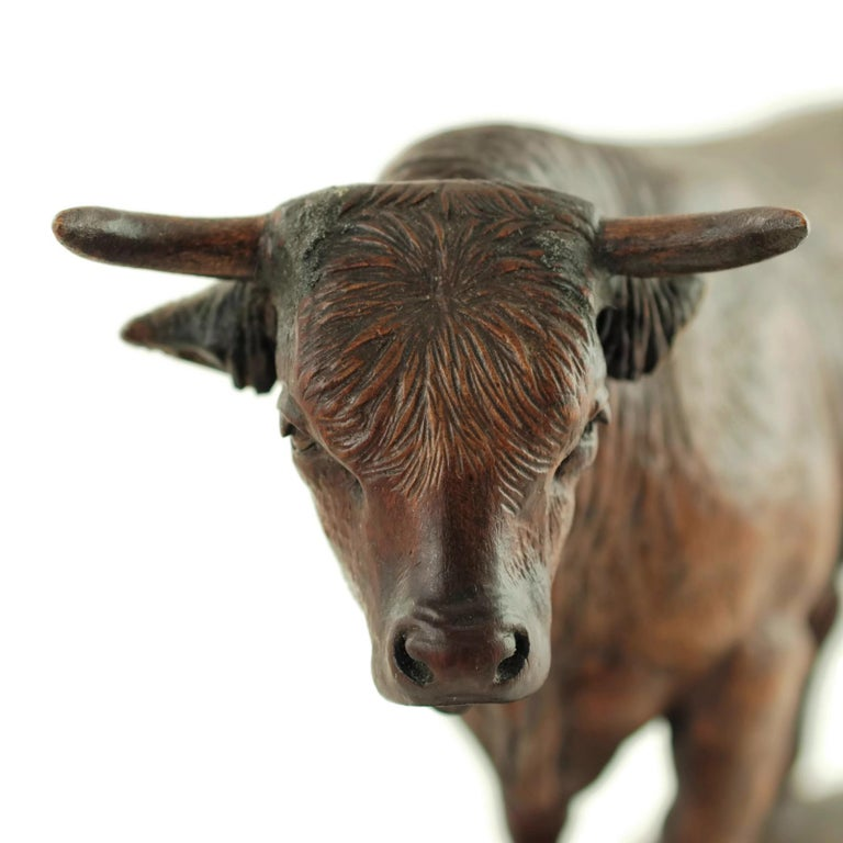 20th Century Hand Carved Wood Figural Bull Statue For Sale