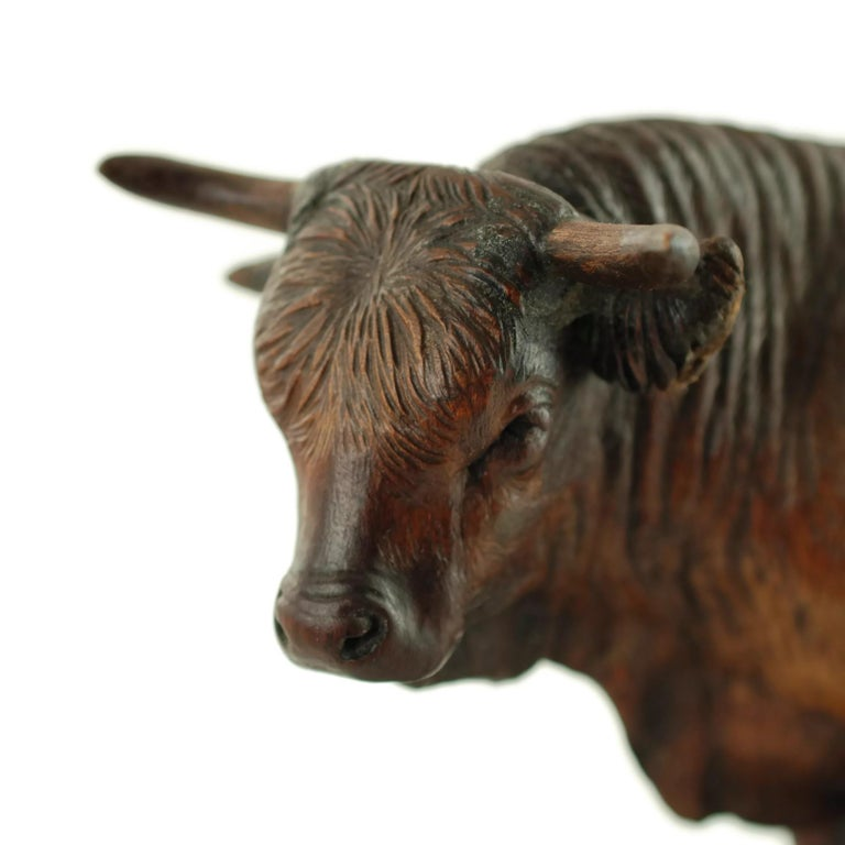 Hand Carved Wood Figural Bull Statue For Sale 1