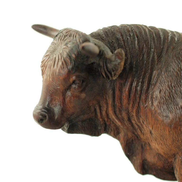 Hand Carved Wood Figural Bull Statue For Sale 2