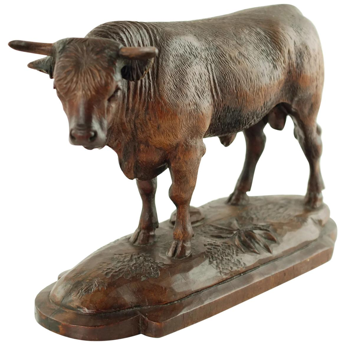 Hand Carved Wood Figural Bull Statue