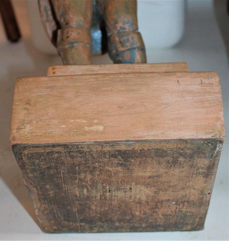 Hand Carved Wood  Folk Sculpture of John Bull For Sale 5