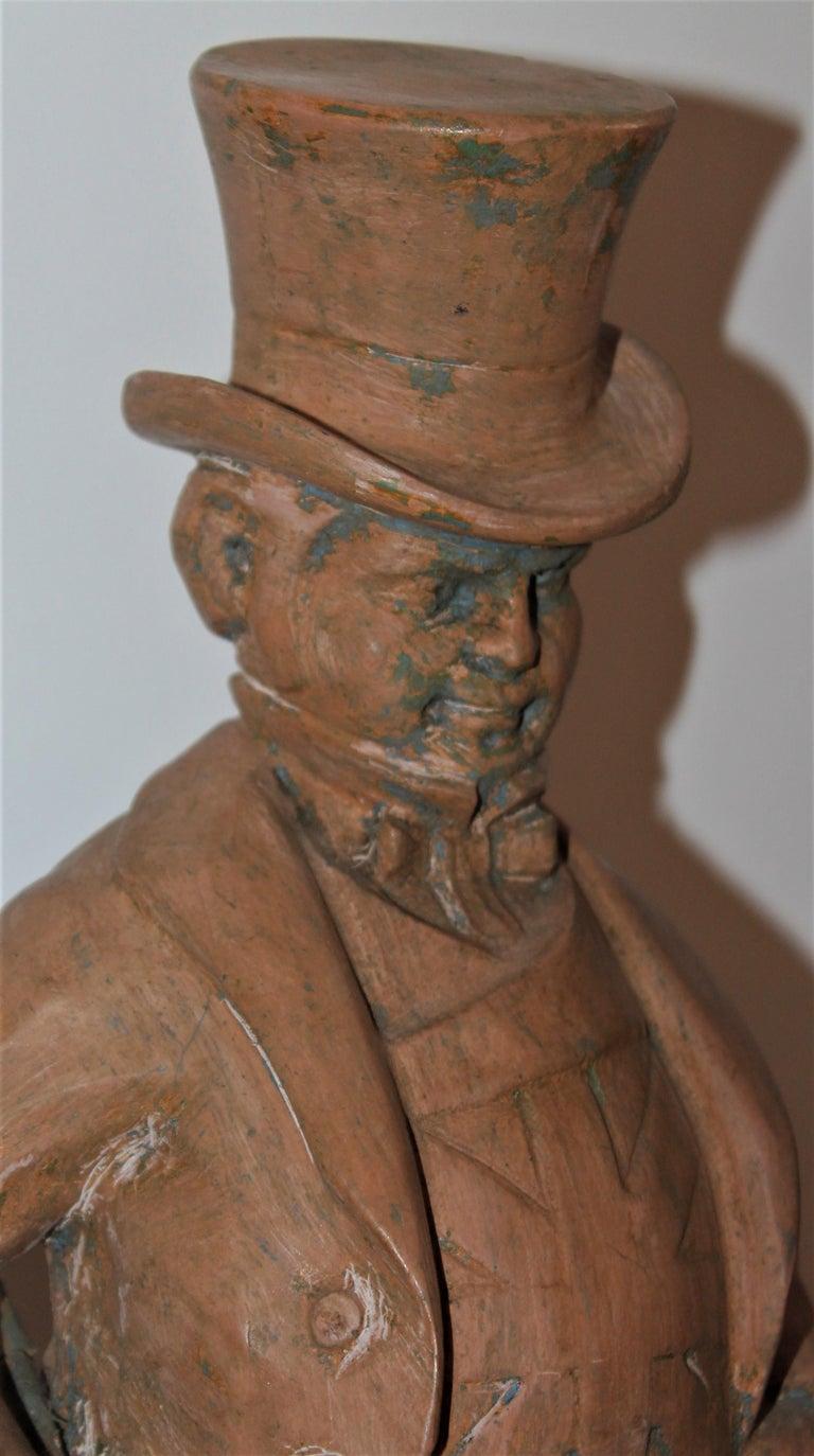 Folk Art Hand Carved Wood  Folk Sculpture of John Bull For Sale
