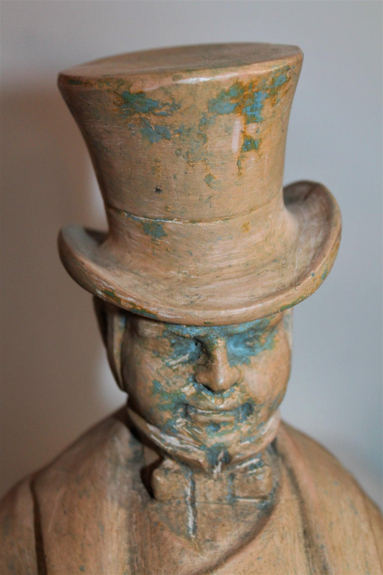 American Hand Carved Wood  Folk Sculpture of W.C. Fields For Sale