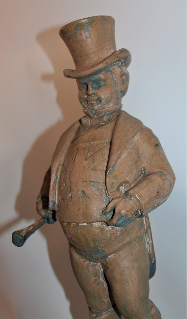 Hand-Carved Hand Carved Wood  Folk Sculpture of W.C. Fields For Sale