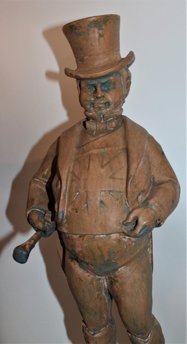 Hand Carved Wood  Folk Sculpture of John Bull In Distressed Condition For Sale In Los Angeles, CA