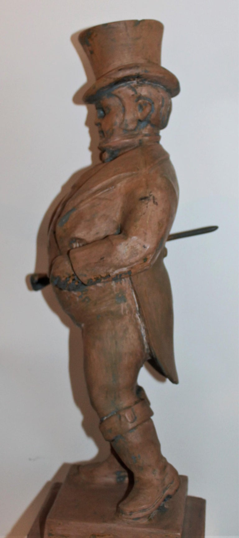 20th Century Hand Carved Wood  Folk Sculpture of John Bull For Sale