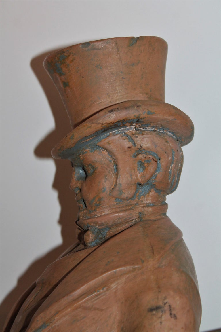 Hand Carved Wood  Folk Sculpture of W.C. Fields For Sale 2