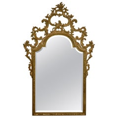 Hand Carved Wood Frame Italian Renaissance Style Beveled Glass Mirror