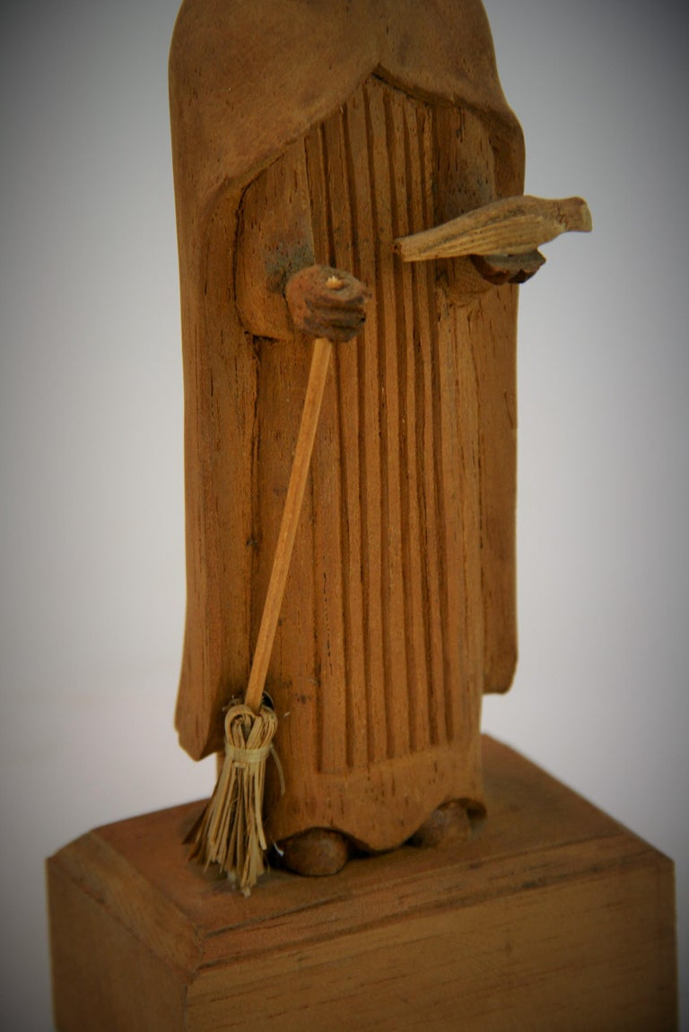 Mid-20th Century Folk Art Hand Carved Wood Friar Santos with Dove For Sale